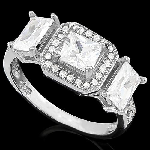 EXQUISITE ! 6 4/5 CARAT (43 PCS) FLAWLESS CREATED DIAMOND 925 STERLING SILVER RING