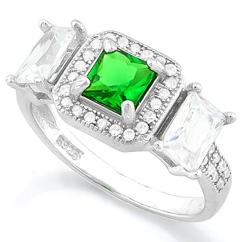 BRILLIANT ! CREATED EMERALD 925 STERLING SILVER RING