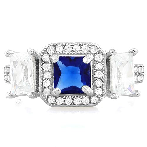 IDEAL ! CREATED BLUE SAPPHIRE 925 STERLING SILVER HALO RING