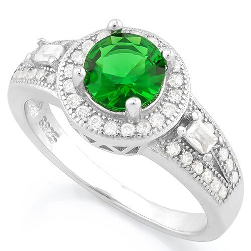 PRETTY ! 1 CARAT CREATED EMERALD 925 STERLING SILVER RING
