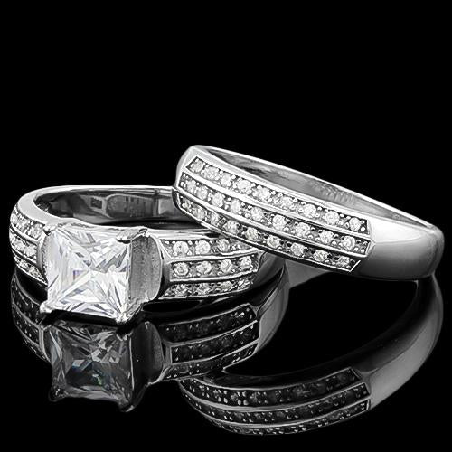 SPECTACULAR ! 4 CARAT (55 PCS) FLAWLESS CREATED DIAMOND 925 STERLING SILVER RING