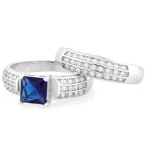 IMMACULATE ! CREATED BLUE SAPPHIRE 925 STERLING SILVER RING