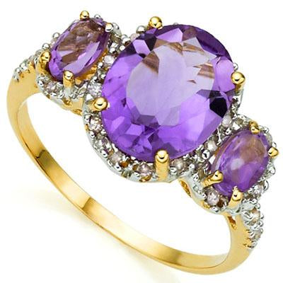 EXQUISITE 3.04 CARAT TW (25 PCS) AMETHYST & AMETHYST 10K SOLID YELLOW GOLD RING