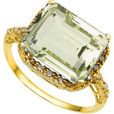 STUNNING 5.02 CARAT TW (19 PCS) GREEN AMETHYST & GENUINE DIAMOND 18K SOLID YELLOW GOLD RING