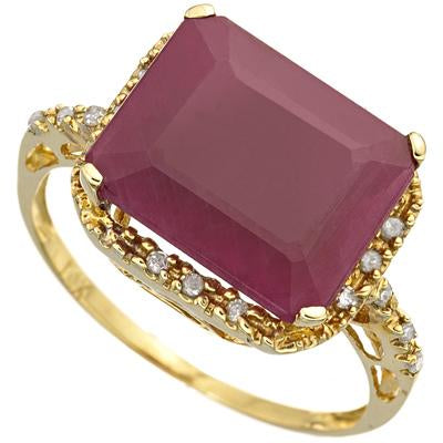 PRECIOUS 6.1 CARAT TW (19 PCS) GENUINE RUBY & GENUINE DIAMOND 18K SOLID YELLOW GOLD RING