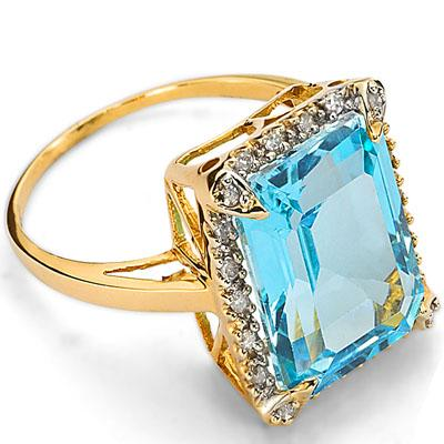 SPARKLING 6.42 CARAT TW (46 PCS) BLUE TOPAZ & GENUINE DIAMOND 10K SOLID YELLOW GOLD RING