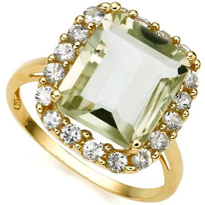 CLASSY 5.84 CARAT TW (19 PCS) GREEN AMETHYST  WHITE TOPAZ 14K SOLID YELLOW GOLD RING