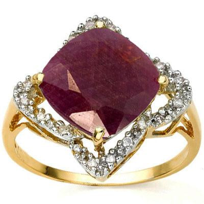 AMAZING 4.02 CARAT TW (21 PCS) GENUINE RUBY & GENUINE DIAMOND 18K SOLID YELLOW GOLD RING
