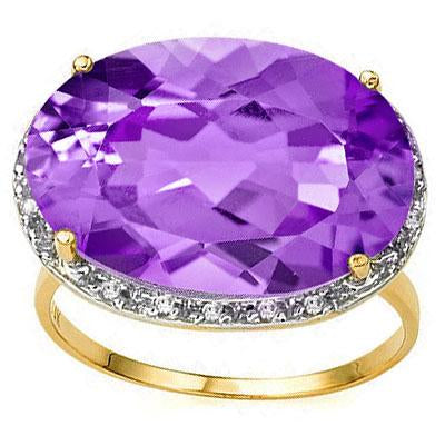 PRETTY 10.6 CARAT TW (38 PCS) AMETHYST & GENUINE DIAMOND 14K SOLID YELLOW GOLD RING