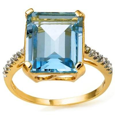 DAZZLING 7.83 CARAT TW (9 PCS) BLUE TOPAZ & GENUINE DIAMOND 10K SOLID YELLOW GOLD RING