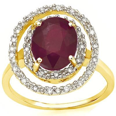 SPECTACULAR 3.3 CARAT TW (19 PCS) GENUINE RUBY & GENUINE DIAMOND 14K SOLID YELLOW GOLD RING