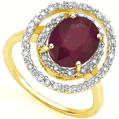 ALLURING 3.3 CARAT TW (19 PCS) GENUINE RUBY & GENUINE DIAMOND 18K SOLID YELLOW GOLD RING