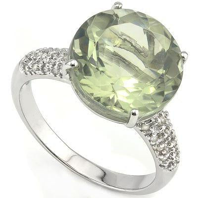CAPTIVATING 5.45 CARAT TW (31 PCS) GREEN AMETHYST  GENUINE DIAMOND 14K SOLID WHITE GOLD RING