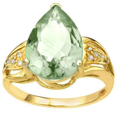 EXQUISITE 5.32 CARAT TW (9 PCS) GREEN AMETHYST & GENUINE DIAMOND 10K SOLID YELLOW GOLD RING