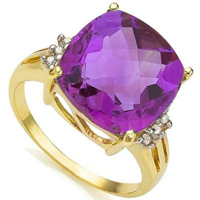 SPARKLING 5.86 CARAT TW (7 PCS) AMETHYST & GENUINE DIAMOND 10K SOLID YELLOW GOLD RING