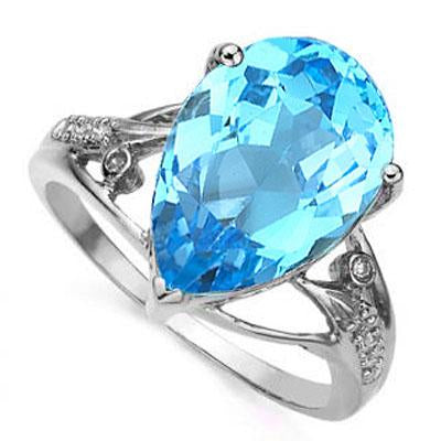 CHARMING 6.82 CARAT TW (9 PCS) BLUE TOPAZ & GENUINE DIAMOND 14K SOLID WHITE GOLD RING