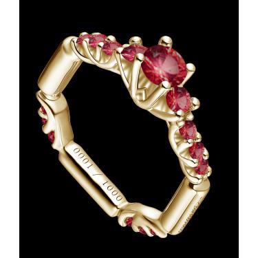 MARVELOUS LANDOUX 1.71 CARAT TW (15 PCS) GENUINE RUBY & GENUINE RUBY 14K SOLID YELLOW GOLD RING