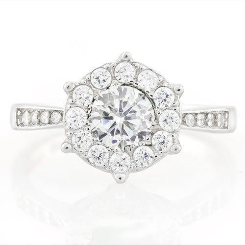 PRETTY ! 1 1/4 CARAT (25 PCS) FLAWLESS CREATED DIAMOND 925 STERLING SILVER RING