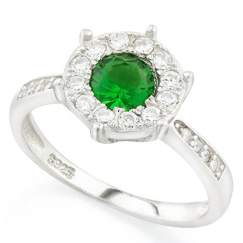 EXQUISITE ! 1 CARAT CREATED EMERALD & 1/4 CARAT (24 PCS) FLAWLESS CREATED DIAMOND 925 STERLING SILVER HALO RING