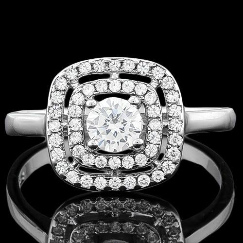 SUPERB ! 1 CARAT (53 PCS) FLAWLESS CREATED DIAMOND 925 STERLING SILVER RING