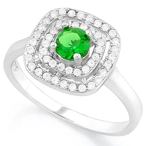 BRILLIANT ! 3/5 CARAT CREATED EMERALD & 1/2 CARAT (52 PCS) FLAWLESS CREATED DIAMOND 925 STERLING SILVER RING