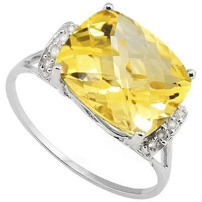 SPECTACULAR 5.10 CT CITRINE & 14 PCS WHITE DIAMOND 10K SOLID WHITE GOLD RING