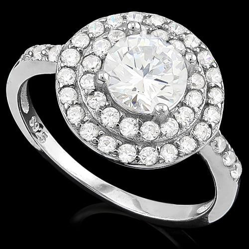 MESMERIZING ! 1 4/5 CARAT (53 PCS) FLAWLESS CREATED DIAMOND 925 STERLING SILVER RING