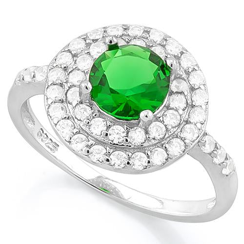IMMACULATE ! 1 1/3 CARAT CREATED EMERALD & 1/2 CARAT (52 PCS) FLAWLESS CREATED DIAMOND 925 STERLING SILVER RING