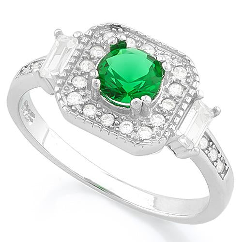 PRECIOUS ! 3/5 CARAT CREATED EMERALD & 1/4 CARAT (24 PCS) FLAWLESS CREATED DIAMOND 925 STERLING SILVER RING