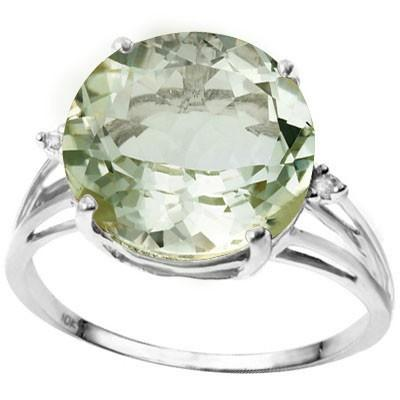 CLASSY 5.90 CT GREEN AMETHYST & 2 PCS WHITE DIAMOND 10K SOLID WHITE GOLD RING