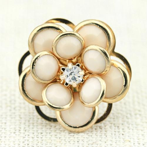 SPARKLING ! 18K GOLD PLATED FLOWER GERMAN SILVER RING
