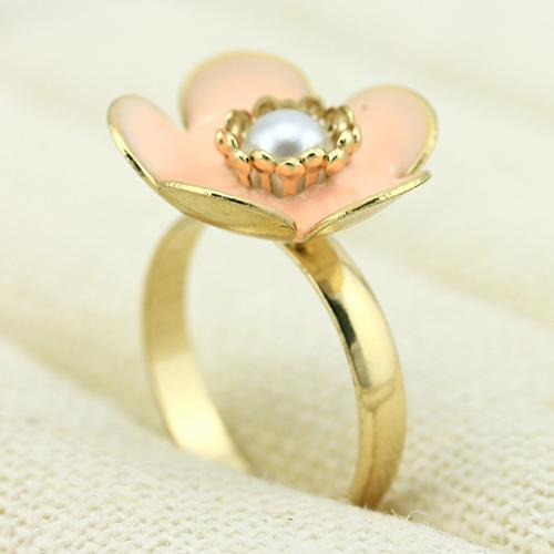 ELITE ! 18K GOLD PLATED FLOWER GERMAN SILVER RING