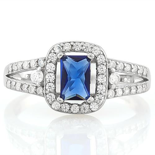 PRETTY ! 2/3 CARAT CREATED BLUE SAPPHIRE & 1/2 CARAT (46 PCS) FLAWLESS CREATED DIAMOND 925 STERLING SILVER RING