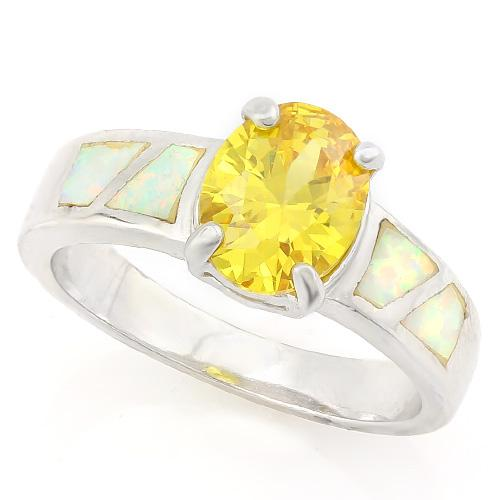FOXY ! 3 4/5 CARAT CREATED CITRINE & 1 CARAT CREATED FIRE OPAL 925 STERLING SILVER RING