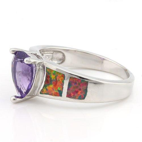 PRECIOUS ! 2 1/4 CARAT CREATED AMETHYST & 1 1/5 CARAT CREATED FIRE OPAL 925 STERLING SILVER RING