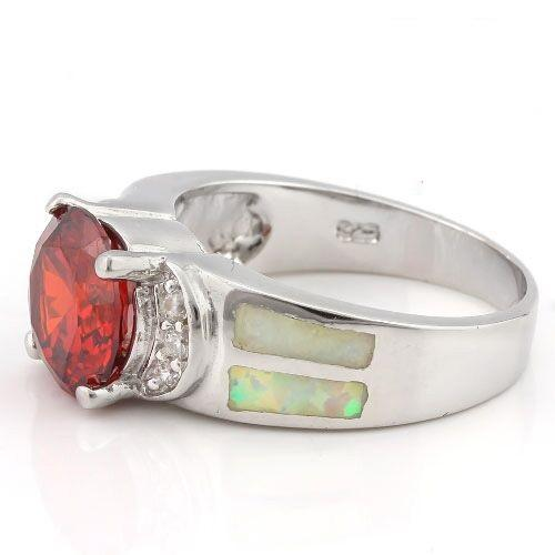 PRETTY ! 3 3/4 CARAT CREATED ORANGE SAPPHIRE & 1 CARAT CREATED FIRE OPAL 925 STERLING SILVER RING