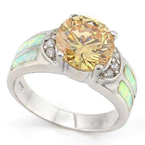PRETTY ! 5 CARAT CREATED CITRINE & 1 CARAT CREATED FIRE OPAL 925 STERLING SILVER RING