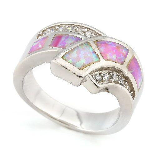 PRECIOUS ! 1 CARAT CREATED FIRE OPAL & 1/2 CARAT (10 PCS) CREATED WHITE SAPPHIRE 925 STERLING SILVER RING