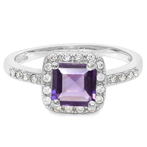 0.80 CT CREATED AMETHYST & 56PCS CREATED WHITE SAPPHIRE 925 STERLING SILVER RING