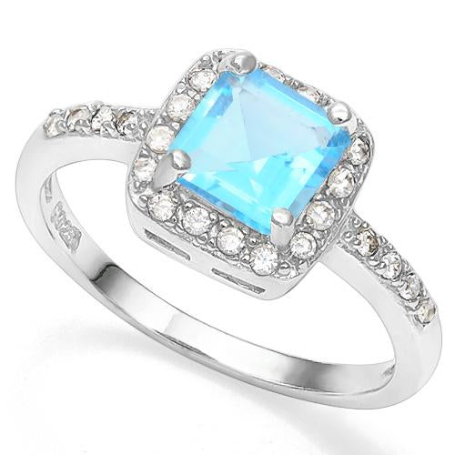 0.80 CT CREATED BLUE TOPAZ & 56PCS CREATED WHITE SAPPHIRE 925 STERLING SILVER RING