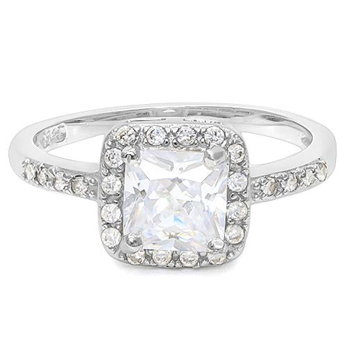 0.80 CT CREATED WHITE SAPPHIRE & 56PCS CREATED WHITE SAPPHIRE 925 STERLING SILVER RING