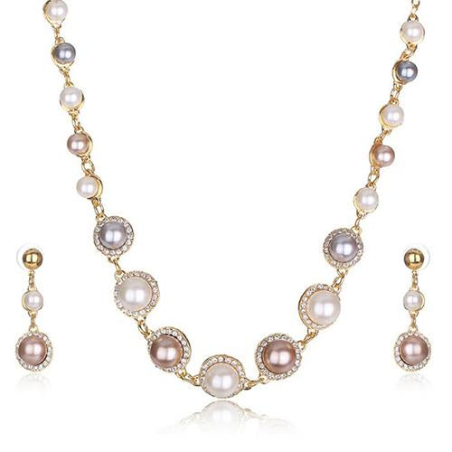 IRRESISTIBLE ! FLAWLESS CREATED DIAMOND 18K GOLD PLATED GERMAN SILVER PEARL SET