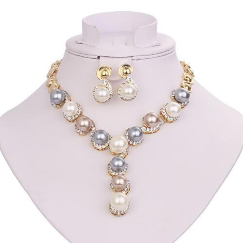 SPLENDID ! FLAWLESS CREATED DIAMOND 18K GOLD PLATED GERMAN SILVER PEARL SET