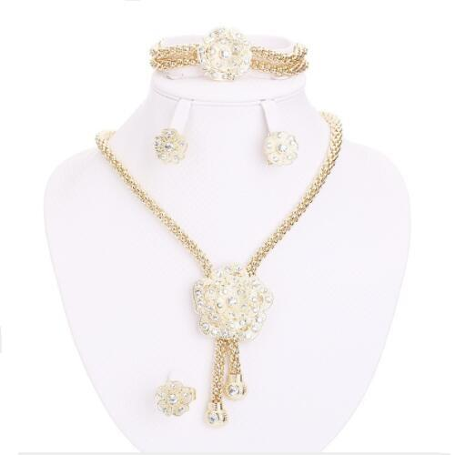 MARVELOUS ! FLAWLESS CREATED DIAMOND 18K GOLD PLATED GERMAN SILVER 4PCS SET