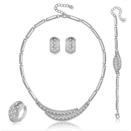 BRILLIANT ! FLAWLESS CREATED DIAMOND 18K GOLD PLATED GERMAN SILVER 4PCS SET