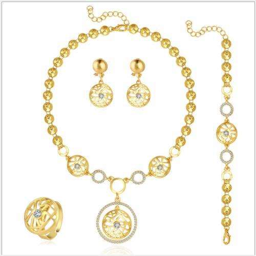 MAGNIFICENT ! FLAWLESS CREATED DIAMOND 18K GOLD PLATED GERMAN SILVER 4PCS SET
