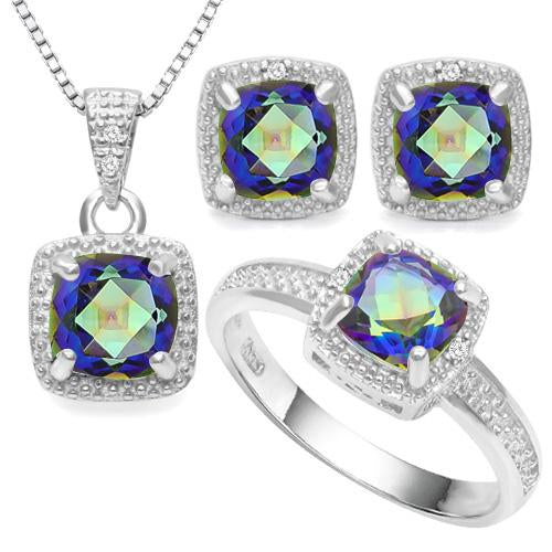 3 3/4 CARAT OCEAN MYSTIC GEMSTONE & DIAMOND 925 STERLING SILVER JEWELRY SET