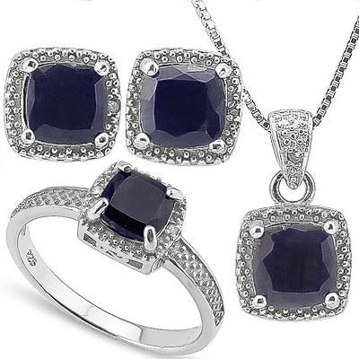 EXCELLENT 5.435 CARAT TW DYED GENUINE SAPPHIRE & GENUINE DIAMOND PLATINUM OVER 0.925 STERLING SILVER SET
