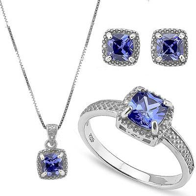THUNDERING 6 1/2 CARAT LAB TANZANITE & DIAMOND 925 STERLING SILVER JEWELRY SET