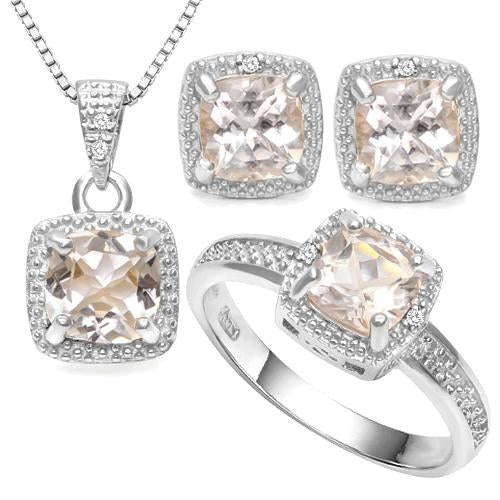 3 1/3 CARAT MORGANITE & DIAMOND 925 STERLING SILVER JEWELRY SET